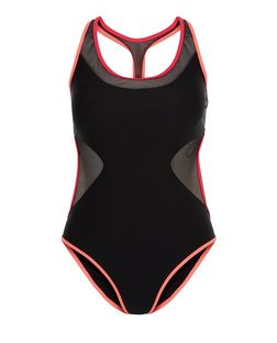 Black Mesh Panel Contrast Trim Swimsuit | New Look