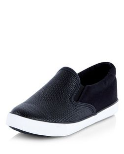 Wide Fit Black Woven Panel Slip On Plimsolls  | New Look
