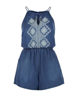 Navy Denim Embroidered Panel Playsuit  | New Look