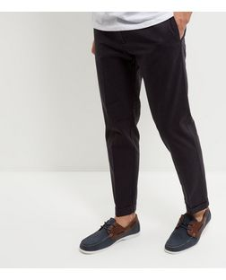 Dark Grey Cotton Crosshatch Trousers  | New Look