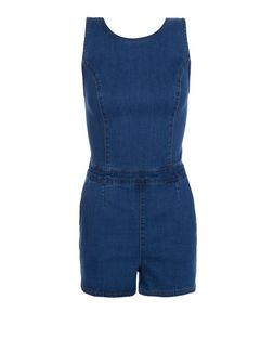 Navy Denim Cut Out Playsuit  | New Look