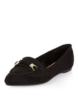 Wide Fit Black Suedette Woven Trim Pointed Loafers  | New Look