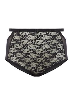 Curves Black Lace High Waist Briefs | New Look