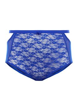 Curves Blue Lace High Waist Briefs | New Look