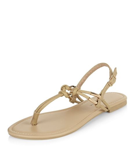 Stone Leather-Look Knotted Sandals  | New Look
