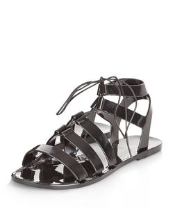 Black Ghillie Jelly Sandals | New Look