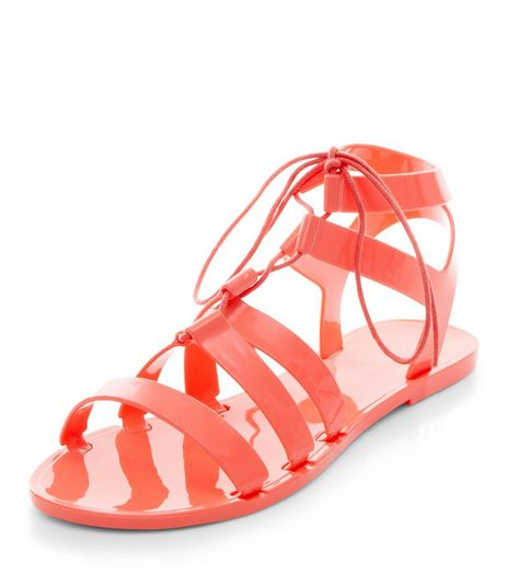 Coral Ghillie Jelly Sandals | New Look