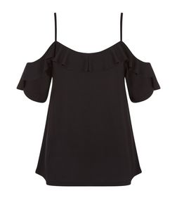 Black Crepe Flutter Trim Cold Shoulder Top | New Look