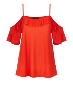Bright Orange Crepe Flutter Trim Cold Shoulder Top | New Look