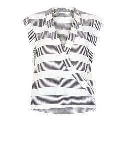 Heartbreak Black Stripe Wrap Top | New Look