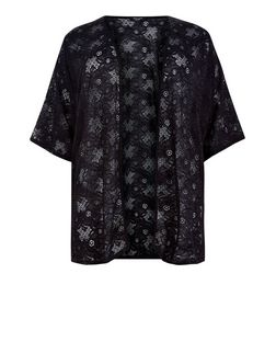 Curves Black Lace Kimono | New Look