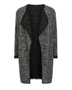 Plus Size Black Fine Knit Waterfall Jacket  | New Look
