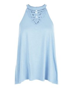 Tall Pale Blue Embroidered Panel Swing Vest  | New Look