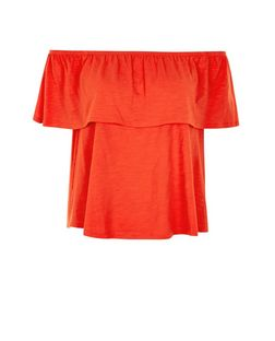 Bright Orange Frill Trim Bardot Neck Top  | New Look
