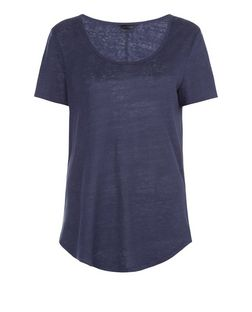 Navy Linen T-Shirt | New Look