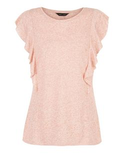 Mid Pink Ruffle Trim Top | New Look