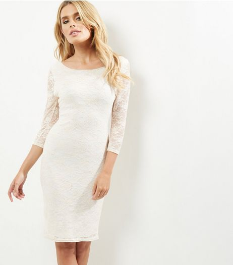 Cream Lace Long Sleeve Bodycon Dress | New Look