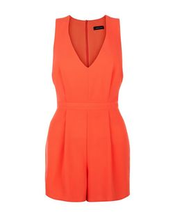 Coral Crepe V Neck Sleeveless Playsuit  | New Look
