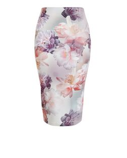 White Floral Print Pencil Skirt  | New Look