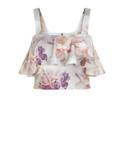 White Floral Print Frill Trim Crop Top  | New Look