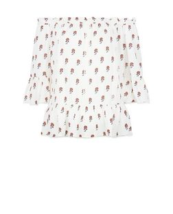 White Floral Print Bardot Neck Peplum Top | New Look