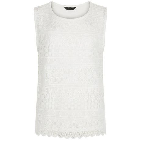 Teens Cream Stripe Lace Sleeveless Top | New Look