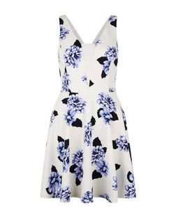 White Floral Print Mesh Panel Skater Dress  | New Look