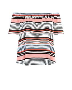 White Stripe Frill Bardot Neck Top  | New Look