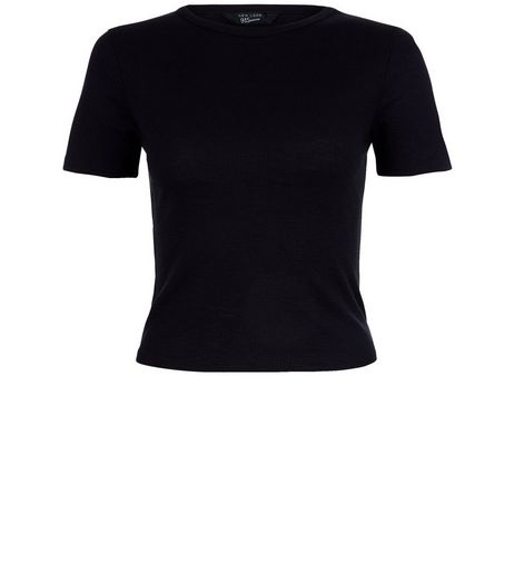 Teens Black Ribbed Crop Top | New Look