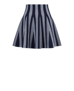 Blue Stripe Knitted Skater Skirt  | New Look