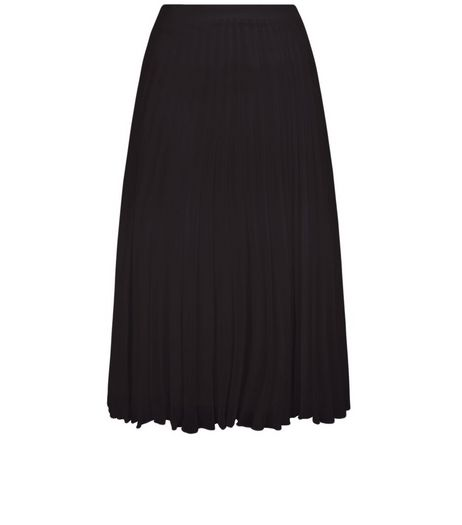 Black Chiffon Pleated Midi Skirt  | New Look