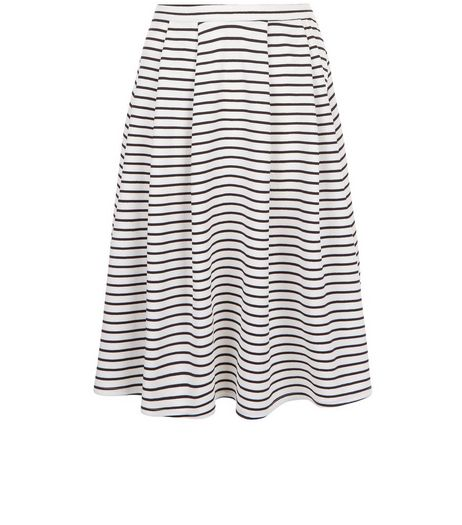 White Stripe Balloon Midi Skirt  | New Look