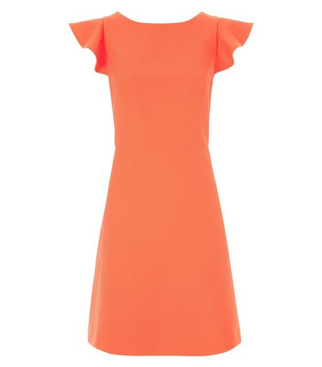 Coral Ruffle Sleeve A-Line Dress  | New Look