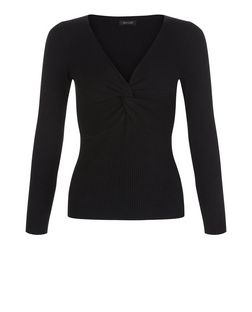 Black Ribbed Twist Front Jumper  | New Look