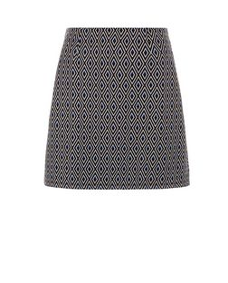 Black Diamond Jacquard A-Line Skirt  | New Look