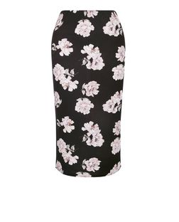 Black Floral Print Pencil Skirt  | New Look
