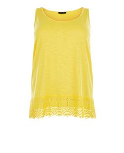Plus Size Yellow Crochet Trim Vest | New Look