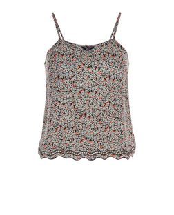 Teens Black Floral Print Scallop Hem Cami | New Look