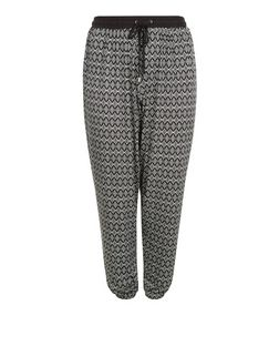 Curves Monochrome Tile Print Drawstring Joggers  | New Look