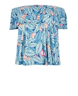 Plus Size Blue Tropical Print Bardot Neck Top | New Look