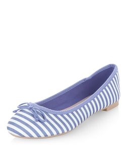 Blue Canvas Stripe Ballet Pumps  | New Look