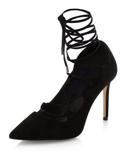 Black Suede Ghillie Pointed Block Heels  | New Look