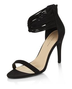 Black Leather-Look Strappy Knot Heels | New Look