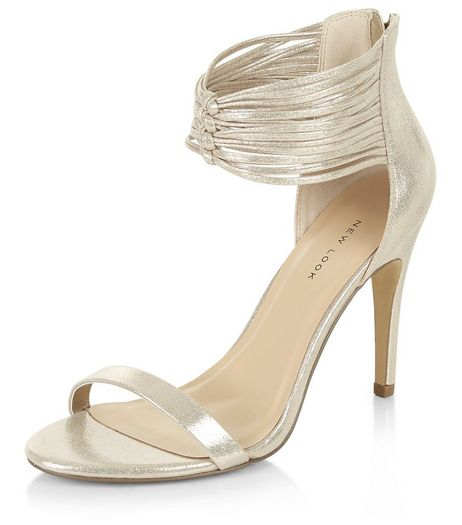 Gold Leather-look Strappy Knot Heels | New Look