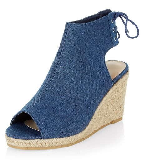 Blue Tie Back Peep Toe Espadrille Wedges  | New Look
