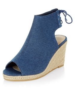Blue Tie Back Peeptoe Espadrille Wedges  | New Look