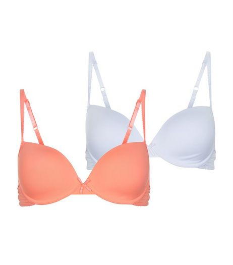 Teens 2 Pack Neon Coral and White Underwired Bras | New Look