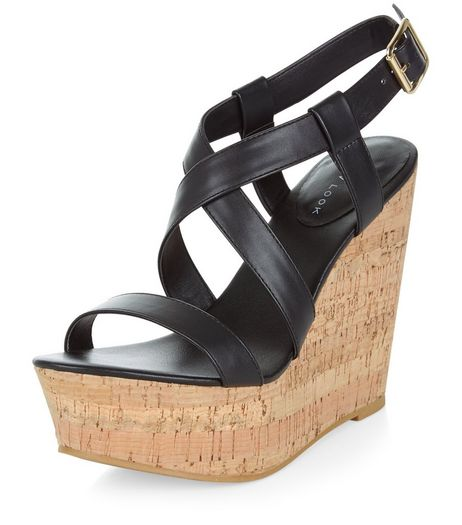 Black Leather-Look Cross Strap Wedges | New Look