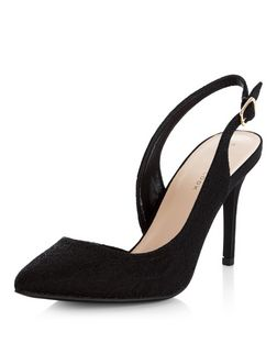 Black Lace Cut Out Side Sling Back Pointed Heels  | New Look
