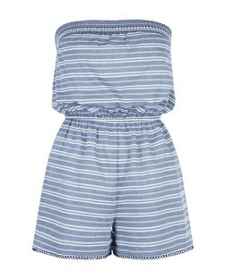 Teens Blue Stripe Bandeau Playsuit | New Look